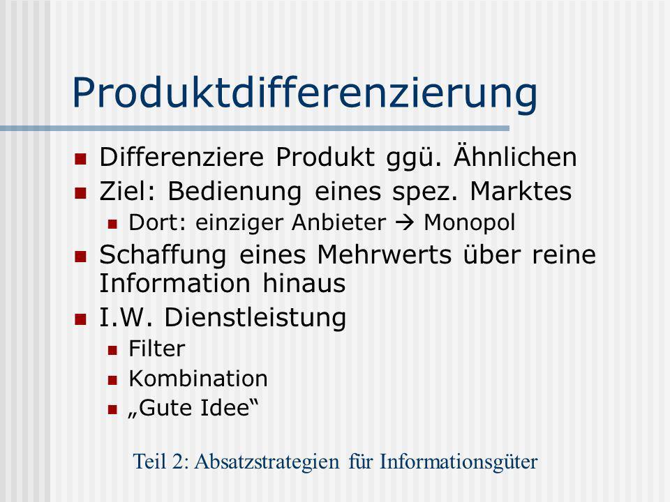 Produktdifferenzierung Differenziere Produkt ggü. Ähnlichen Ziel: Bedienung eines spez. Marktes Dort: einziger Anbieter Monopol Schaffung eines Mehrwe