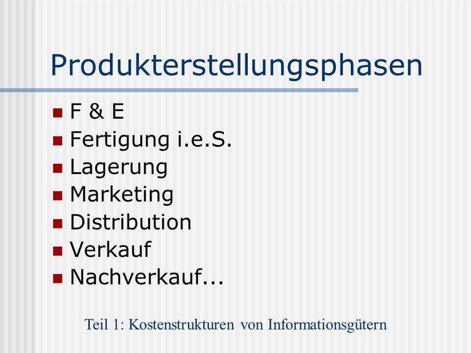 Produkterstellungsphasen F & E Fertigung i.e.S. Lagerung Marketing Distribution Verkauf Nachverkauf... Teil 1: Kostenstrukturen von Informationsgütern