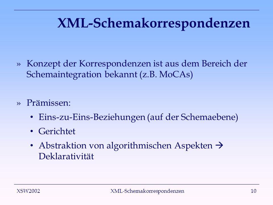 XSW2002 XML-Schemakorrespondenzen10 XML-Schemakorrespondenzen »Konzept der Korrespondenzen ist aus dem Bereich der Schemaintegration bekannt (z.B. MoC