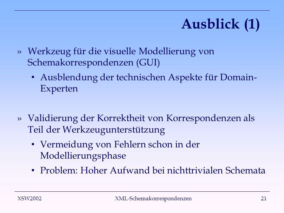 XSW2002 XML-Schemakorrespondenzen21 Ausblick (1) »Werkzeug für die visuelle Modellierung von Schemakorrespondenzen (GUI) Ausblendung der technischen Aspekte für Domain- Experten »Validierung der Korrektheit von Korrespondenzen als Teil der Werkzeugunterstützung Vermeidung von Fehlern schon in der Modellierungsphase Problem: Hoher Aufwand bei nichttrivialen Schemata