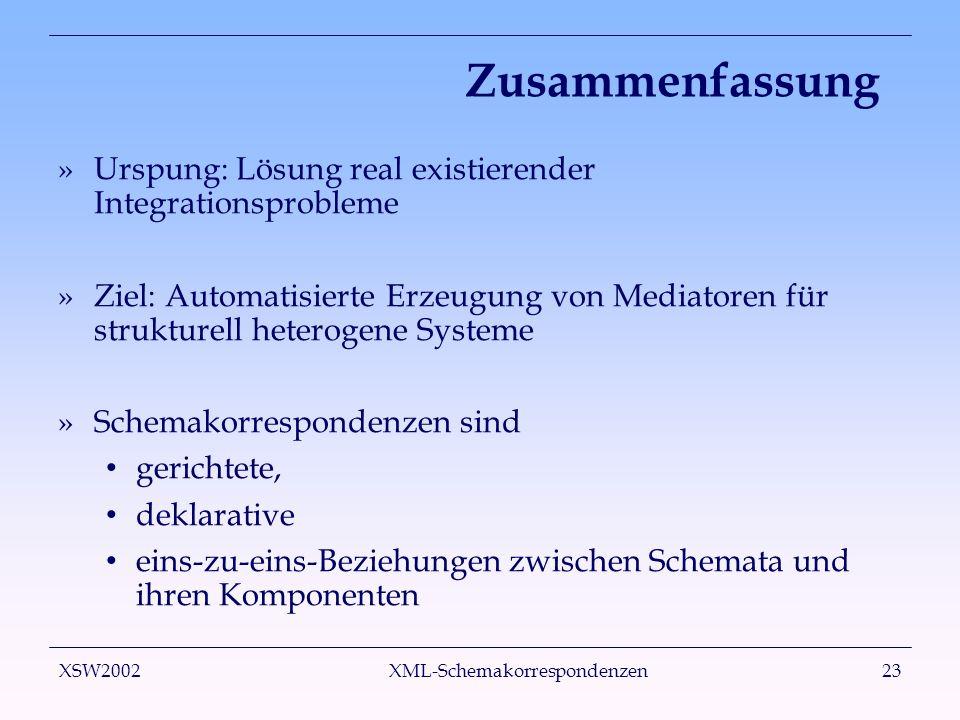 XSW2002 XML-Schemakorrespondenzen23 Zusammenfassung »Urspung: Lösung real existierender Integrationsprobleme »Ziel: Automatisierte Erzeugung von Media