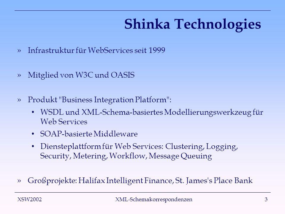 XSW2002 XML-Schemakorrespondenzen3 Shinka Technologies »Infrastruktur für WebServices seit 1999 »Mitglied von W3C und OASIS »Produkt