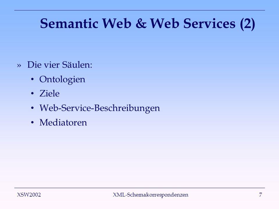 XSW2002 XML-Schemakorrespondenzen18 Zwischenrepräsentation (2) »Zwei Klassen von Funktionen: Accessors liefern Eingabedaten, z.B.