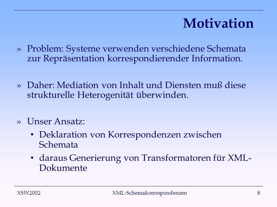 XSW2002 XML-Schemakorrespondenzen8 Motivation »Problem: Systeme verwenden verschiedene Schemata zur Repräsentation korrespondierender Information. »Da