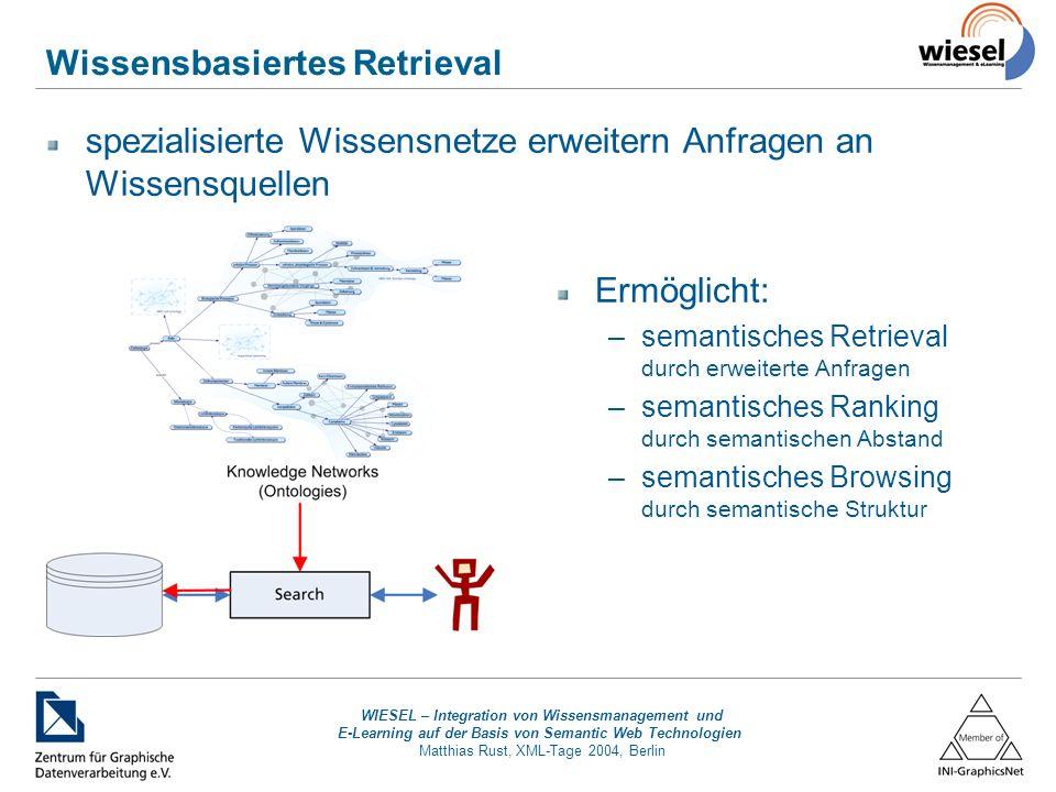 WIESEL – Integration von Wissensmanagement und E-Learning auf der Basis von Semantic Web Technologien Matthias Rust, XML-Tage 2004, Berlin Wissensbasiertes Retrieval spezialisierte Wissensnetze erweitern Anfragen an Wissensquellen Ermöglicht: –semantisches Retrieval durch erweiterte Anfragen –semantisches Ranking durch semantischen Abstand –semantisches Browsing durch semantische Struktur