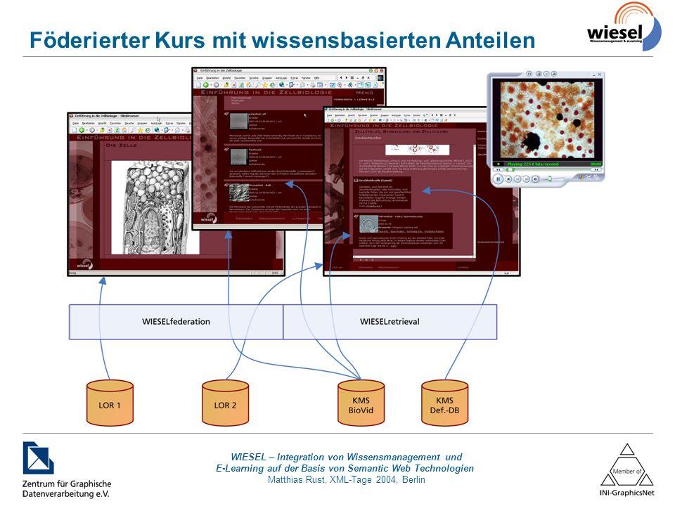 WIESEL – Integration von Wissensmanagement und E-Learning auf der Basis von Semantic Web Technologien Matthias Rust, XML-Tage 2004, Berlin Föderierter Kurs mit wissensbasierten Anteilen