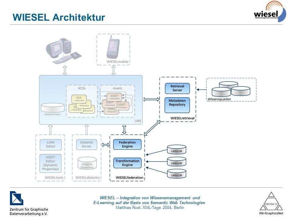 WIESEL – Integration von Wissensmanagement und E-Learning auf der Basis von Semantic Web Technologien Matthias Rust, XML-Tage 2004, Berlin WIESELretrieval Basiert auf ZGDVs RetrievalSystem Einheitlicher Zugriff auf beliebige Datenquellen –unterschiedlicher Datenquelltypen Datenbanken, Filesysteme, WWW, … –Webservice-Schnittstelle –Semantische Beschreibung Komponenten –Retrievalserver –RDF-Content-Repository Datenbankkontext Applikationskontext –Retrieval Server Module erweitern Funktionalität