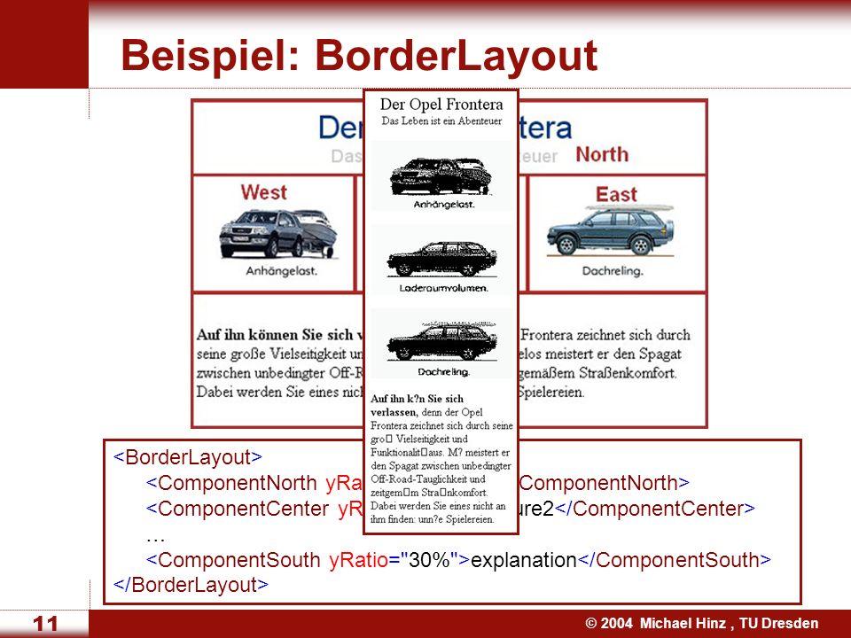 © 2004 Michael Hinz, TU Dresden 11 Beispiel: BorderLayout title picture2 … explanation