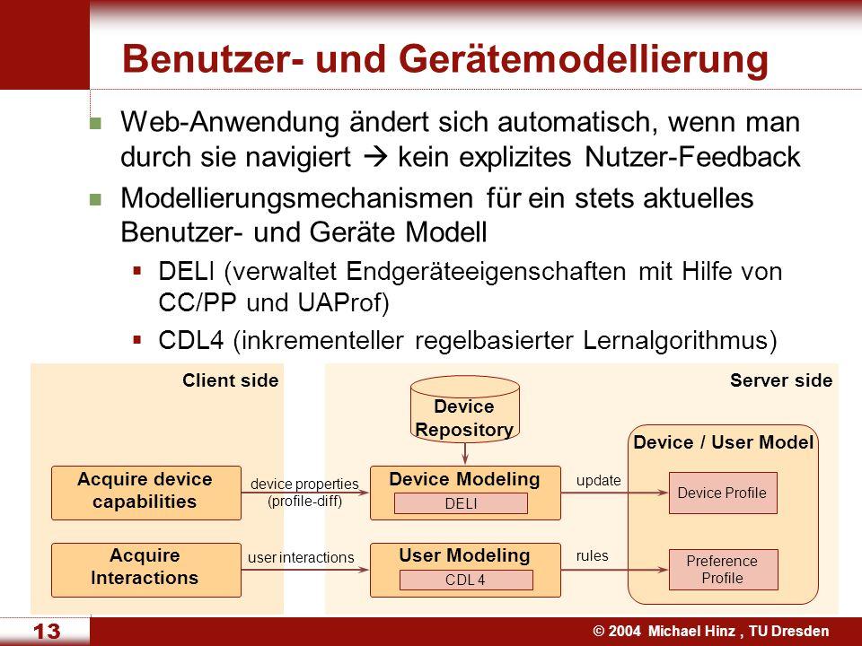 © 2004 Michael Hinz, TU Dresden 13 Web-Anwendung ändert sich automatisch, wenn man durch sie navigiert kein explizites Nutzer-Feedback Modellierungsmechanismen für ein stets aktuelles Benutzer- und Geräte Modell DELI (verwaltet Endgeräteeigenschaften mit Hilfe von CC/PP und UAProf) CDL4 (inkrementeller regelbasierter Lernalgorithmus) Benutzer- und Gerätemodellierung Client sideServer side User Modeling CDL 4 Device / User Model Preference Profile user interactions Device Profile Device Modeling DELI device properties (profile-diff) update Device Repository Acquire device capabilities Acquire Interactions rules