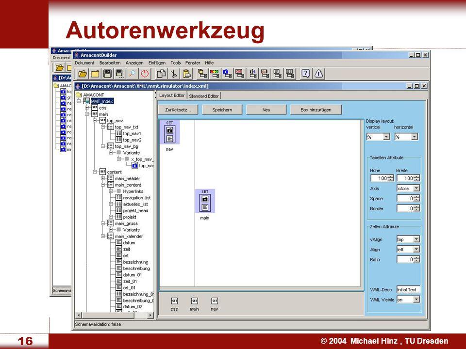 © 2004 Michael Hinz, TU Dresden 16 Autorenwerkzeug