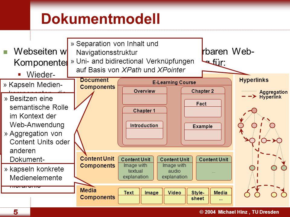 © 2004 Michael Hinz, TU Dresden 6 Adaption während der Dokumentgenerierung Adaptability (statische Adaption) Adaptation basiert auf meist statischen Benutzer- und Geräteeigenschaften Konfiguration Adaptivity (dynamische Adaption) Die Web-Anwendung ändert sich automatisch wenn man in ihr navigiert Kein explizites Nutzer-Feedback Automatische Benutzer- und Gerätemodellierung