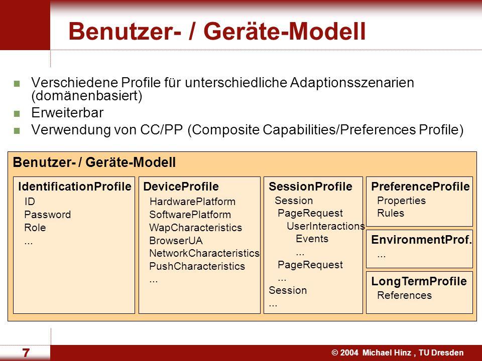 © 2004 Michael Hinz, TU Dresden 7 Benutzer- / Geräte-Modell IdentificationProfile ID Password Role...