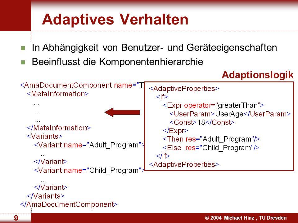 © 2004 Michael Hinz, TU Dresden 10 Automatische Layout Adaption Layout Manager BorderLayout BoxLayout OverlayLayout GridLayout Transformationen für xHTML cHTML WML