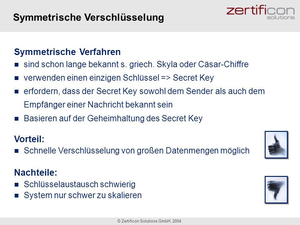 © Zertificon Solutions GmbH, 2004 Symmetrische Verfahren sind schon lange bekannt s. griech. Skyla oder Cäsar-Chiffre verwenden einen einzigen Schlüss