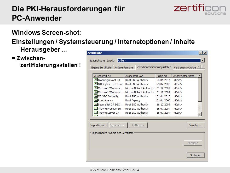 © Zertificon Solutions GmbH, 2004 Die PKI-Herausforderungen für PC-Anwender Windows Screen-shot: Einstellungen / Systemsteuerung / Internetoptionen /