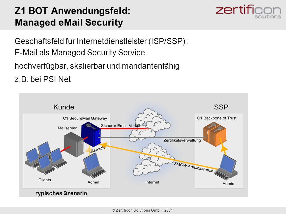 © Zertificon Solutions GmbH, 2004 Z1 BOT Anwendungsfeld: Managed eMail Security Geschäftsfeld für Internetdienstleister (ISP/SSP) : E-Mail als Managed