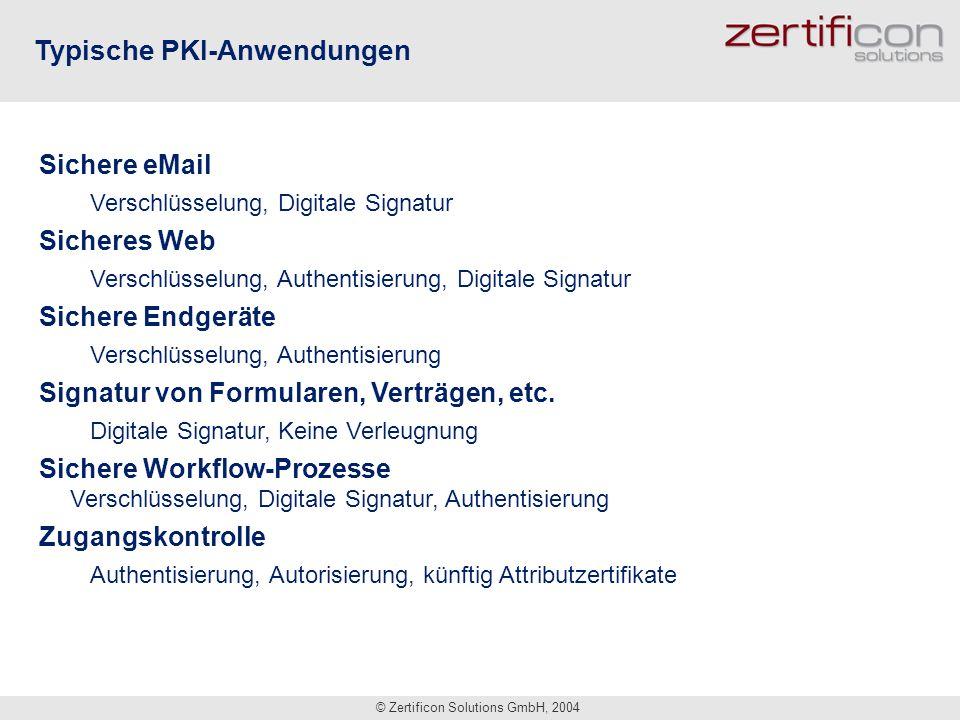 © Zertificon Solutions GmbH, 2004 Typische PKI-Anwendungen Sichere eMail Verschlüsselung, Digitale Signatur Sicheres Web Verschlüsselung, Authentisier