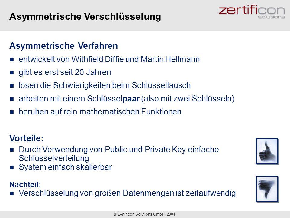 © Zertificon Solutions GmbH, 2004 Asymmetrische Verfahren entwickelt von Withfield Diffie und Martin Hellmann gibt es erst seit 20 Jahren lösen die Sc