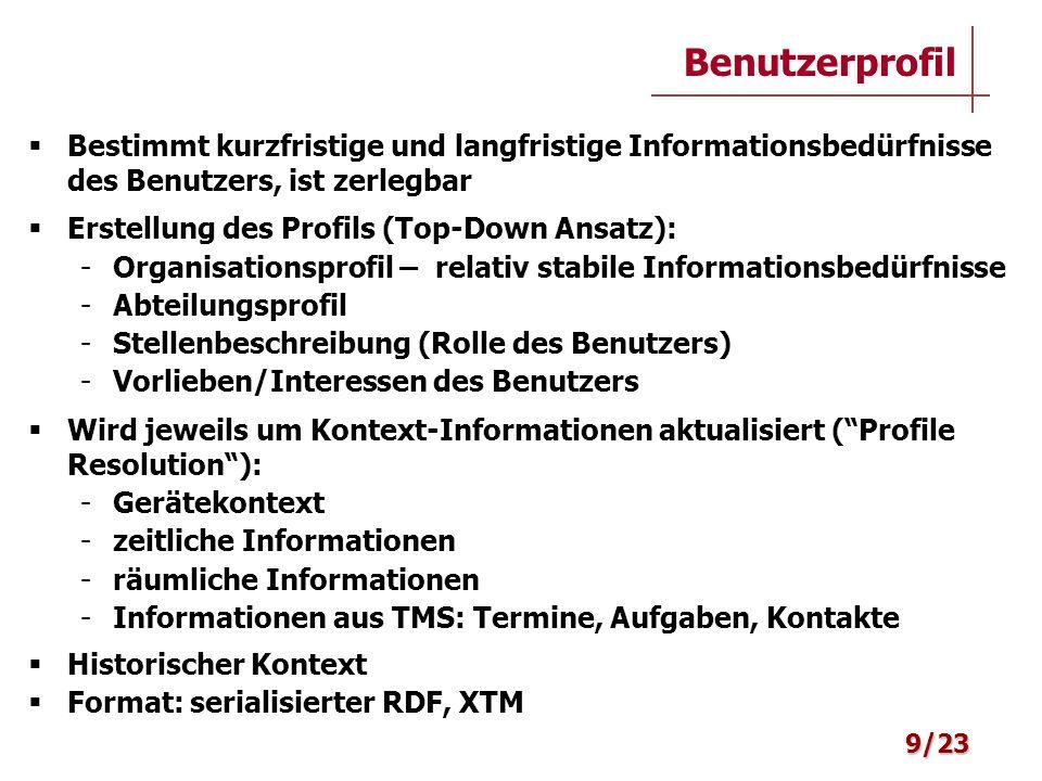 Bestimmt kurzfristige und langfristige Informationsbedürfnisse des Benutzers, ist zerlegbar Erstellung des Profils (Top-Down Ansatz): - Organisationsp