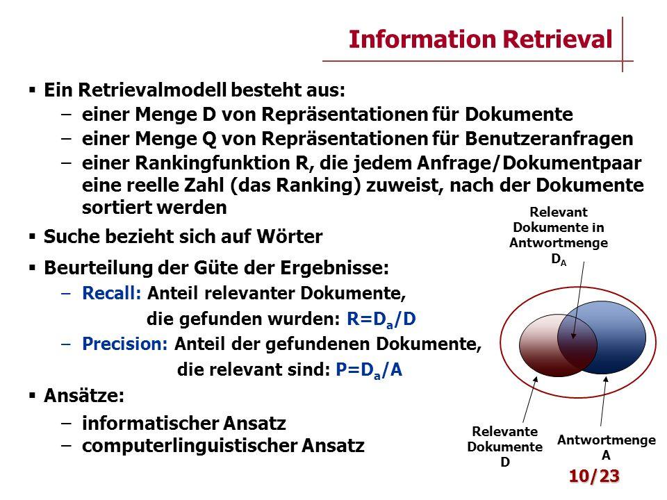 Information Retrieval Ein Retrievalmodell besteht aus: –einer Menge D von Repräsentationen für Dokumente –einer Menge Q von Repräsentationen für Benut