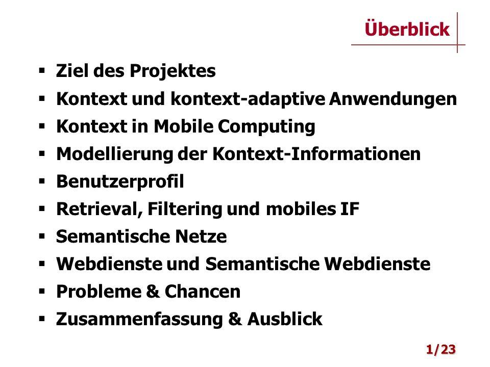 Ziel des Projektes Kontext und kontext-adaptive Anwendungen Kontext in Mobile Computing Modellierung der Kontext-Informationen Benutzerprofil Retrieva