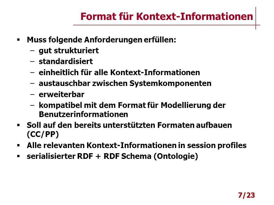 Muss folgende Anforderungen erfüllen: –gut strukturiert –standardisiert –einheitlich für alle Kontext-Informationen –austauschbar zwischen Systemkompo