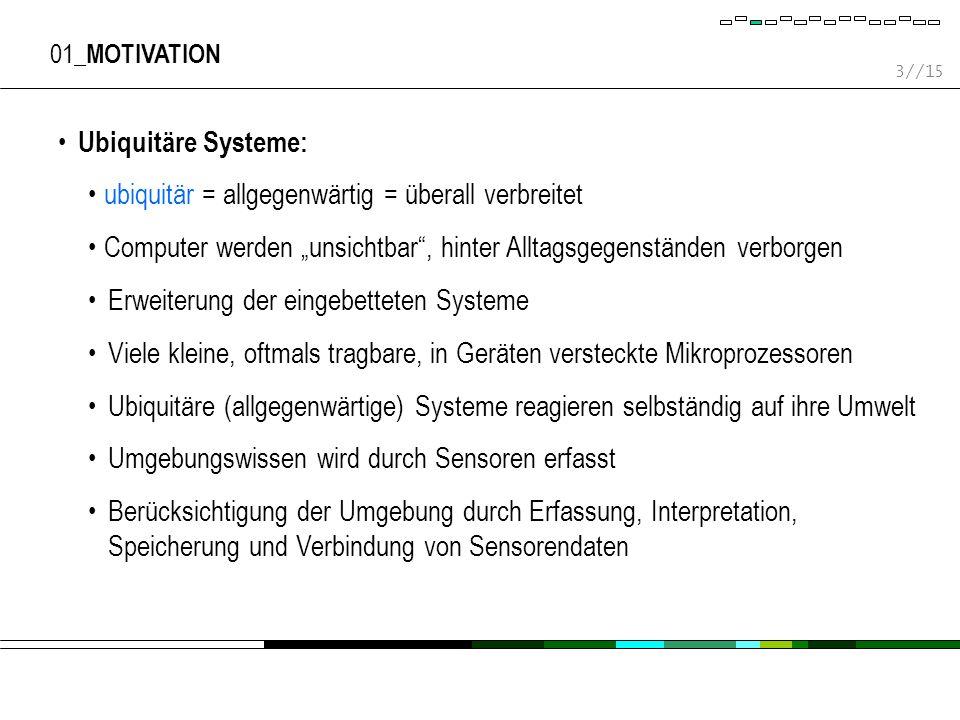 14//15 04_ EVALUIERUNG UND ERFAHRUNGEN Gebäudesystem wurde bisher auf einem Simulator realisiert Tests mit mobilen und stationären Geräten Objekterkennung und -verfolgung mittels Infrarot (IrDA) und Übertragung der Agenten- und Kontextinformationen mittels Bluetooth XML-Darstellung und -Zugriff stellen keinen Engpass dar Lesezugriffe auf Kontextinformationen können mittels der speziellen Datenstruktur, die sich im Speicher befindet, effizient ausgeführt werden Nur Kontextänderungen lösen einen Schreibzugriff auf die zugehörige XML-Datei aus