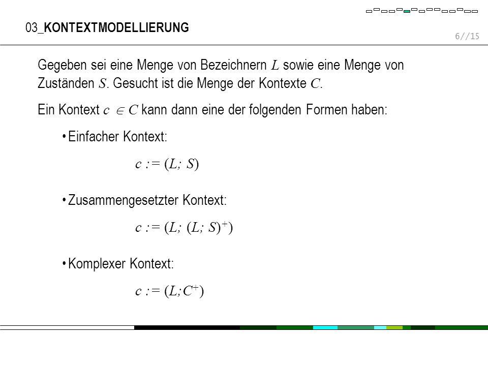 6//15 03_ KONTEXTMODELLIERUNG Gegeben sei eine Menge von Bezeichnern L sowie eine Menge von Zuständen S.