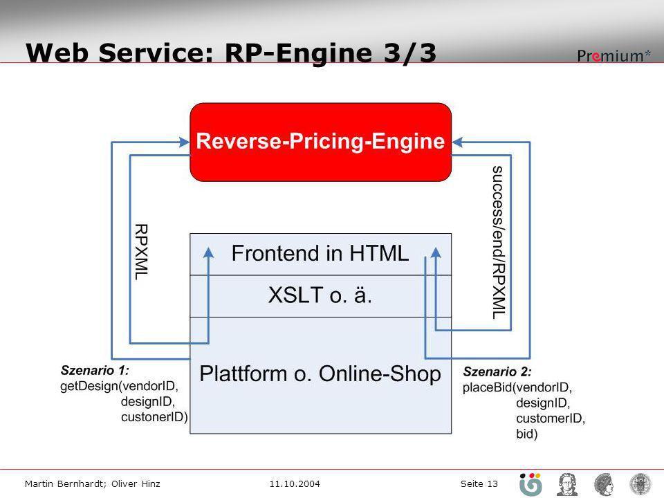Martin Bernhardt; Oliver Hinz11.10.2004 Seite 13 Web Service: RP-Engine 3/3