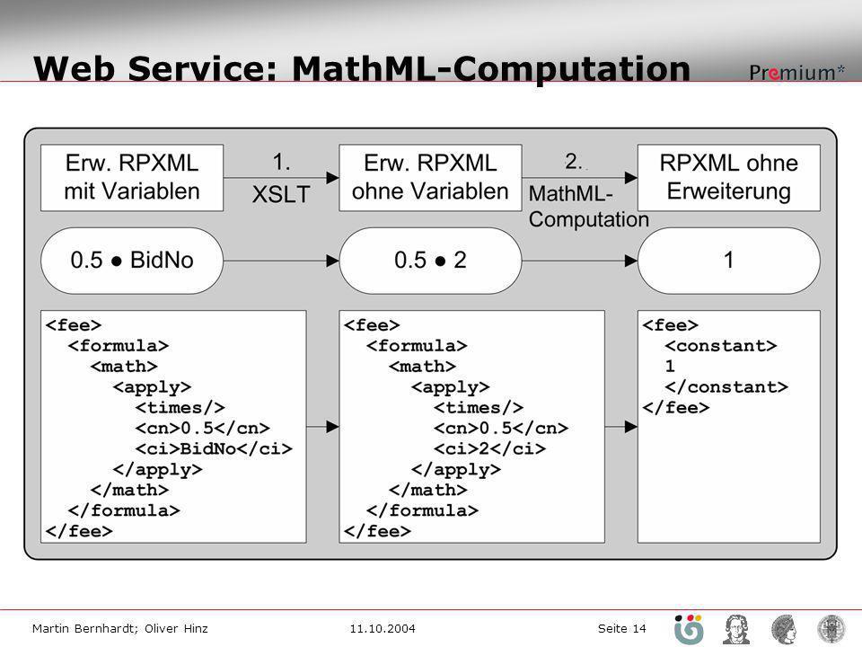 Martin Bernhardt; Oliver Hinz11.10.2004 Seite 14 Web Service: MathML-Computation