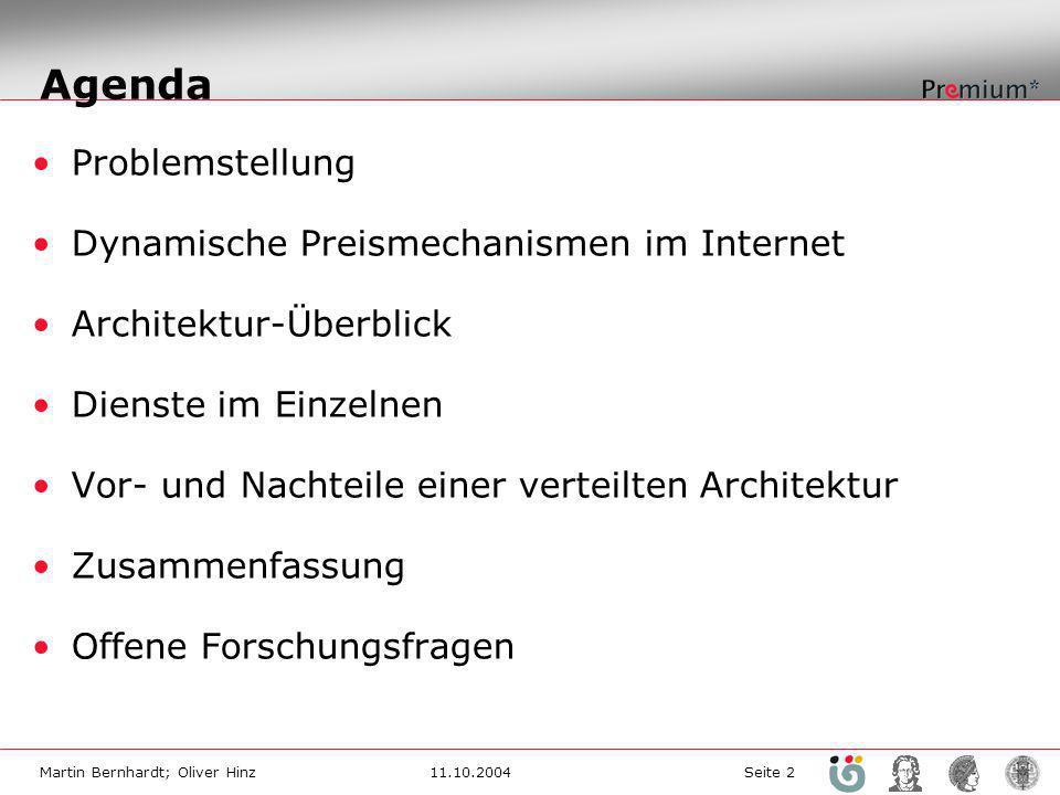 Martin Bernhardt; Oliver Hinz11.10.2004 Seite 2 Agenda Problemstellung Dynamische Preismechanismen im Internet Architektur-Überblick Dienste im Einzelnen Vor- und Nachteile einer verteilten Architektur Zusammenfassung Offene Forschungsfragen