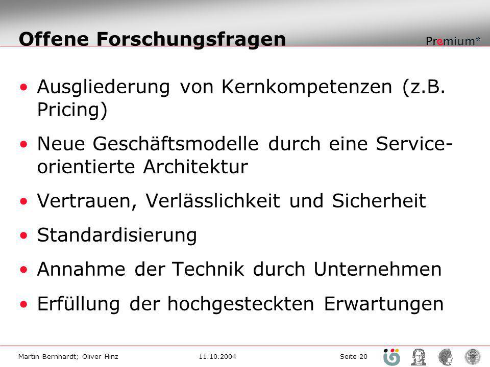 Martin Bernhardt; Oliver Hinz11.10.2004 Seite 20 Offene Forschungsfragen Ausgliederung von Kernkompetenzen (z.B. Pricing) Neue Geschäftsmodelle durch