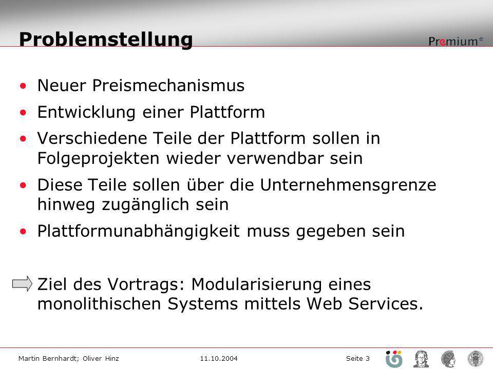 Martin Bernhardt; Oliver Hinz11.10.2004 Seite 3 Problemstellung Neuer Preismechanismus Entwicklung einer Plattform Verschiedene Teile der Plattform so