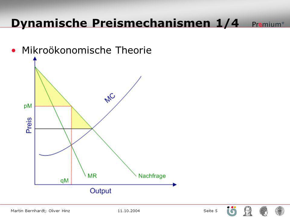 Martin Bernhardt; Oliver Hinz11.10.2004 Seite 5 Dynamische Preismechanismen 1/4 Mikroökonomische Theorie