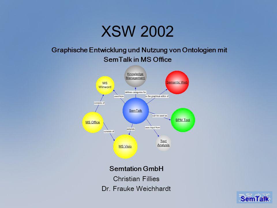 XSW 2002 Graphische Entwicklung und Nutzung von Ontologien mit SemTalk in MS Office Semtation GmbH Christian Fillies Dr. Frauke Weichhardt
