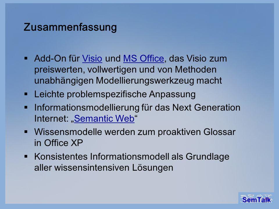 Zusammenfassung Add-On für Visio und MS Office, das Visio zum preiswerten, vollwertigen und von Methoden unabhängigen Modellierungswerkzeug machtVisio