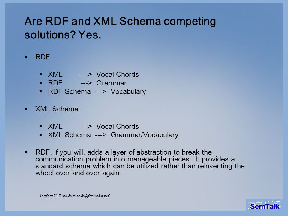 Are RDF and XML Schema competing solutions? Yes. RDF: XML ---> Vocal Chords RDF ---> Grammar RDF Schema ---> Vocabulary XML Schema: XML ---> Vocal Cho