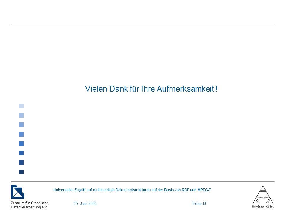 25. Juni 2002 Folie 13 Universeller Zugriff auf multimediale Dokumentstrukturen auf der Basis von RDF und MPEG-7 Vielen Dank für Ihre Aufmerksamkeit !
