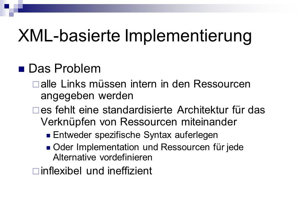 XML-basierte Implementierung Das Problem alle Links müssen intern in den Ressourcen angegeben werden es fehlt eine standardisierte Architektur für das Verknüpfen von Ressourcen miteinander Entweder spezifische Syntax auferlegen Oder Implementation und Ressourcen für jede Alternative vordefinieren inflexibel und ineffizient