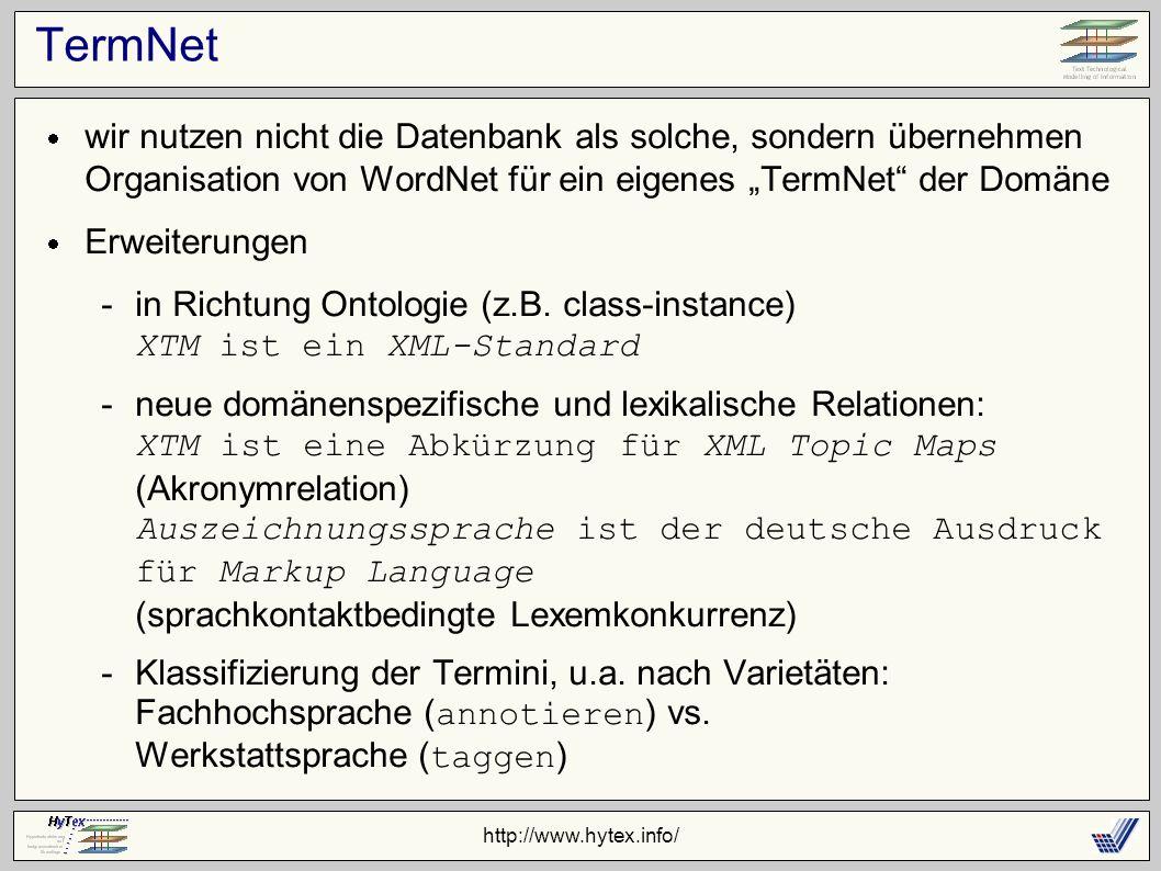 http://www.hytex.info/ TermNet wir nutzen nicht die Datenbank als solche, sondern übernehmen Organisation von WordNet für ein eigenes TermNet der Domäne Erweiterungen -in Richtung Ontologie (z.B.