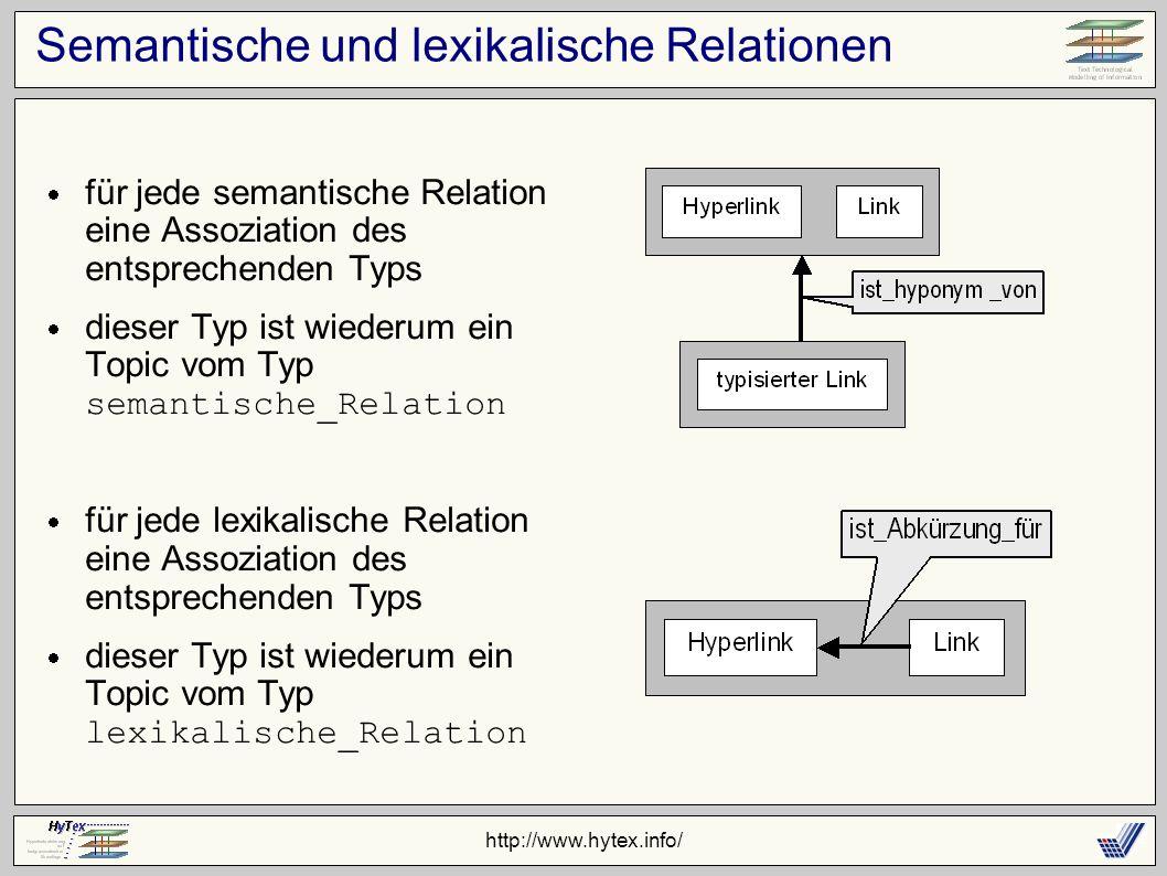 http://www.hytex.info/ Semantische und lexikalische Relationen für jede semantische Relation eine Assoziation des entsprechenden Typs dieser Typ ist wiederum ein Topic vom Typ semantische_Relation für jede lexikalische Relation eine Assoziation des entsprechenden Typs dieser Typ ist wiederum ein Topic vom Typ lexikalische_Relation