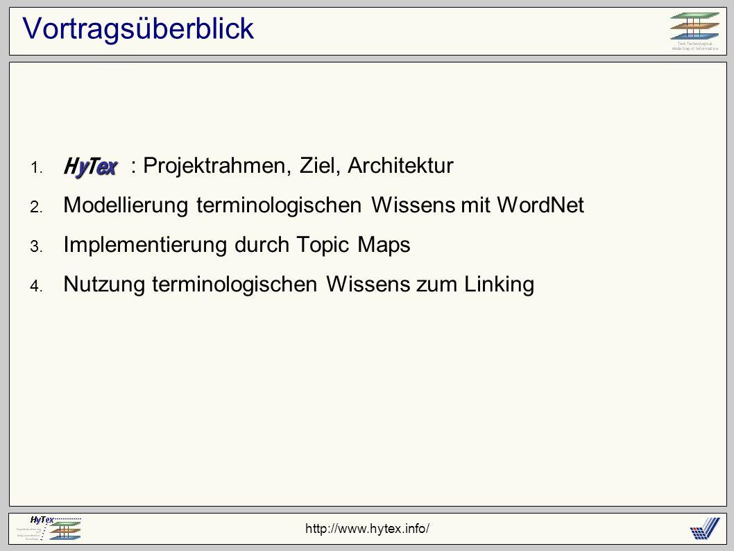 http://www.hytex.info/ Vortragsüberblick 1. : Projektrahmen, Ziel, Architektur 2. Modellierung terminologischen Wissens mit WordNet 3. Implementierung