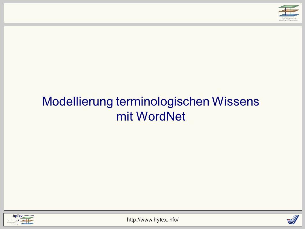 http://www.hytex.info/ Modellierung terminologischen Wissens mit WordNet