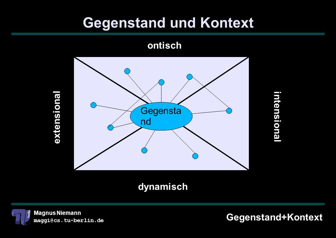 Magnus Niemann maggi@cs.tu-berlin.de Gegenstand und Kontext Gegenstand+Kontext ontisch dynamisch intensional extensional Gegensta nd