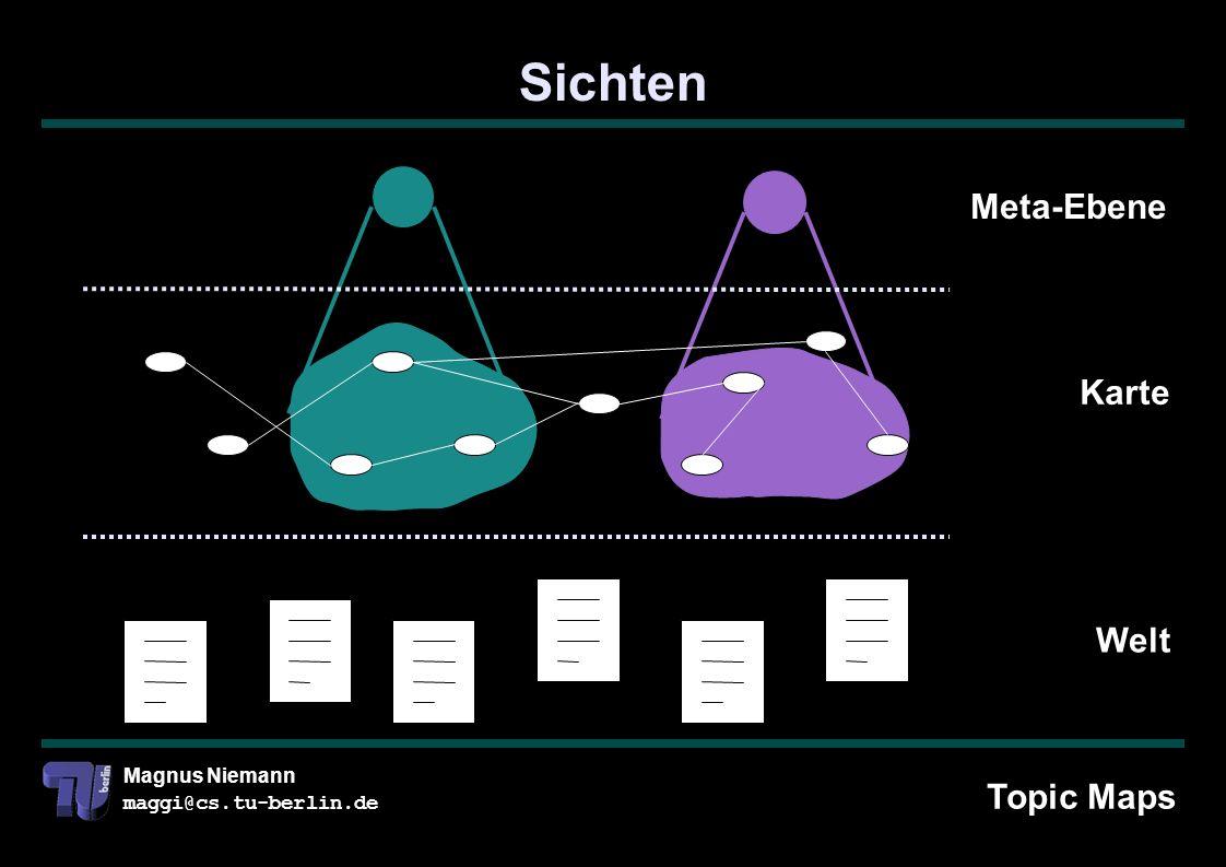 Magnus Niemann maggi@cs.tu-berlin.de Sichten Welt Karte Meta-Ebene Topic Maps
