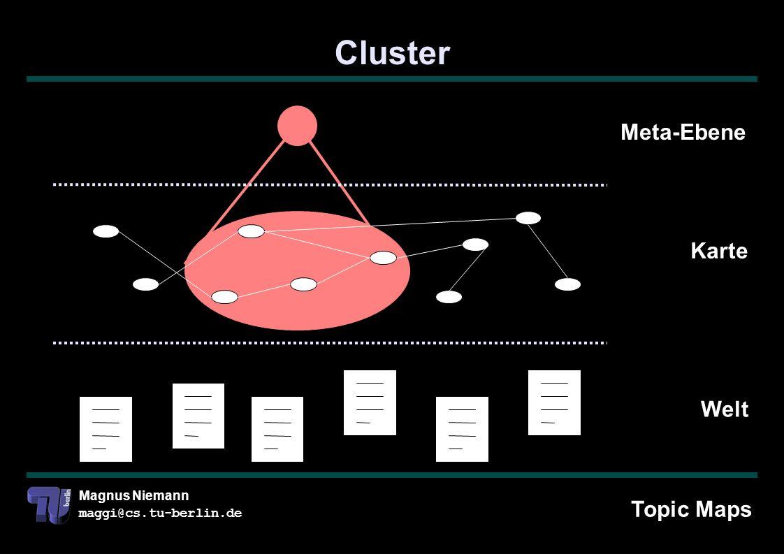 Magnus Niemann maggi@cs.tu-berlin.de Cluster Welt Karte Meta-Ebene Topic Maps