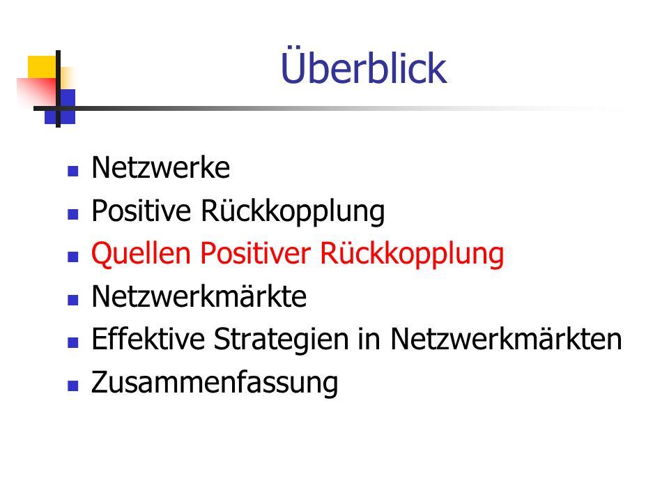 Überblick Netzwerke Positive Rückkopplung Quellen Positiver Rückkopplung Netzwerkmärkte Effektive Strategien in Netzwerkmärkten Zusammenfassung