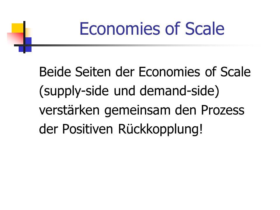 Economies of Scale Beide Seiten der Economies of Scale (supply-side und demand-side) verstärken gemeinsam den Prozess der Positiven Rückkopplung!