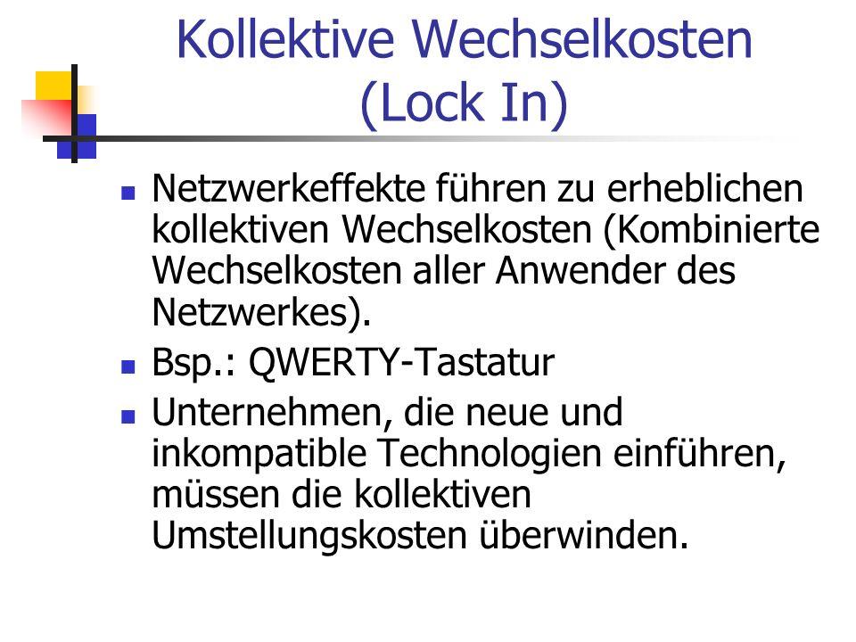 Kollektive Wechselkosten (Lock In) Netzwerkeffekte führen zu erheblichen kollektiven Wechselkosten (Kombinierte Wechselkosten aller Anwender des Netzw