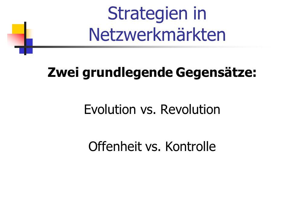 Strategien in Netzwerkmärkten Zwei grundlegende Gegensätze: Evolution vs. Revolution Offenheit vs. Kontrolle